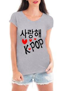 Blusa Criativa Urbana Love Kpop Estilo Coreano - Feminino-Cinza