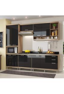 Cozinha Completa Com Balcão Com Tampo 6 Peças 11 Portas Sicília Multimóveis Argila/Preto