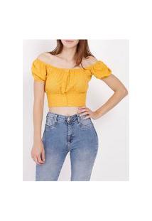 Blusa Cropped Feminina Amarelo