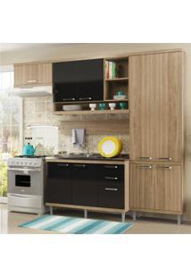 Cozinha Completa Multimóveis Com 5 Peças Sicília 5838 Argila/Preto
