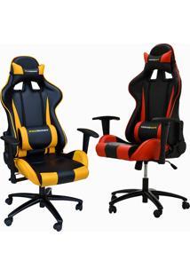 Kit 02 Cadeiras Gamer Giratória Reclinável Com Regulagem De Altura Pro-V Sport Pu Preto/Vermelho E Amarelo - Gran Belo