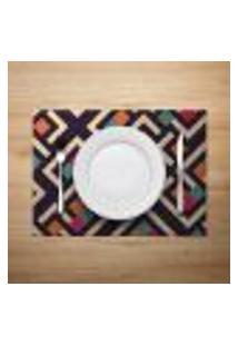 Jogo Americano 4Pçs Abstrato Multicolorido - Mdecore