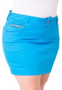 Saia Curta Jeans Confidencial Jet Color Plus Size Feminina - Feminino-Azul