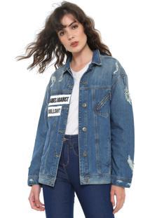 Jaqueta Jeans Triton Bordada Azul