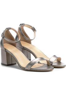 Sandália Couro Shoestock Salto Grosso Metalizada Feminina - Feminino-Chumbo