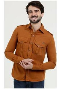 Camisa Masculina Sarja Bolsos Manga Longa Zune Jeans
