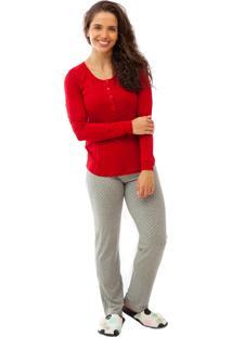 Pijama De Amamentação Mania Pijamas Longo Vermelho