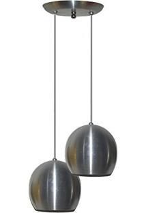 Luminaria Com 02 Bolinhas Juntas Alumínio Escovado