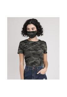 Kit De Blusa Feminina Estampada Camuflada Manga Curta Decote Redondo + Máscara De Proteção Individual Verde Militar