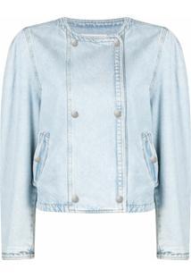 Isabel Marant Étoile Collarless Double-Breasted Denim Jacket - Azul