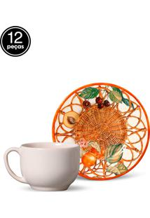 Conjunto 12Pçs Xícaras De Chá Porto Brasil Mônaco Forli Branco