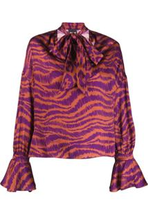 Just Cavalli Animal Print Pussy Bow Blouse - Roxo