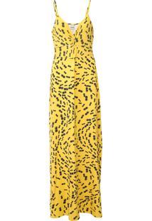 Vestido Enfim Longo Estampado Amarelo