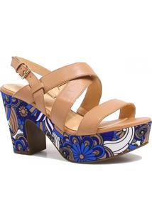Sandália Zariff Shoes Plataforma Verniz Nude