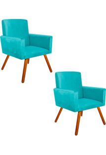 Kit 02 Poltrona Decorativa Nina Suede Azul Tiffany Com Encosto Alto - D'Rossi