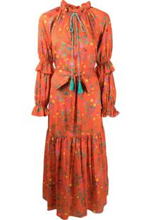 Cynthia Rowley Vestido Sanibel Com Estampa Floral - Laranja