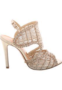 Sandália Texture Stiletto Platina   Schutz