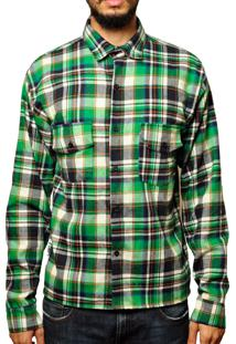 Camisa Andy Roll Flanela Manga Longa Greenspot Verde