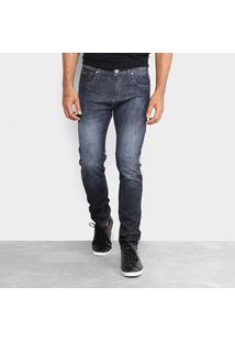 Calça Jeans Skinny Rock Blue Elastano Lavagem Média Masculina - Masculino