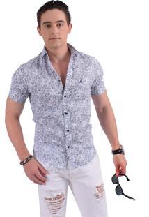Camisa Horus Social Manga Curta Slim Floral Arabesco 500206 Azul