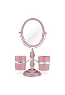 Espelho De Bancada Com Suportes Laterais Jacki Design Espelho Rosa