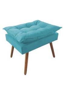 Puff Decorativo Opalla Pés Palito Suede Azul Turquesa - Ds Móveis