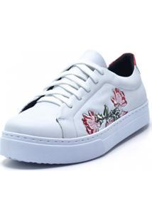 Tênis Flor Da Pele Bordado Floral Branco