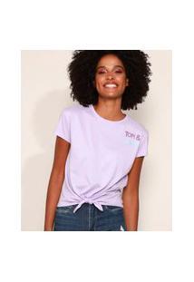 Camiseta Feminina Tom E Jerry Flocada Com Nó Manga Curta Decote Redondo Lilás