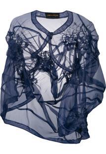 Comme Des Garçons Pre-Owned Asymmetric Ruffle Bolero Jacket - Azul