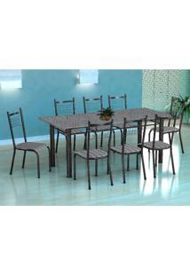 Conjunto De Mesa Cordoba Com 8 Cadeiras Lisboa Preto Prata E Listrado