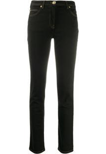 Versace Calça Jeans Slkinny Com Aplicação Medusa - Preto