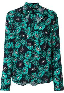 Markus Lupfer Blusa Com Laço E Estampa Floral - Verde