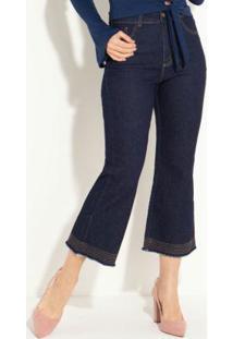 Calça Jeans Pantacourt Azul Com Barra Flare