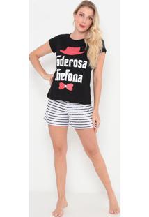 "Pijama ""Poderosa Chefona""- Preto & Branco- Zulaizulai"