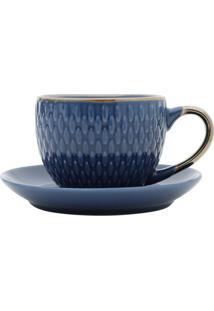 Conjunto De Xícaras Para Café Com Pires 4 Peças 90 Ml 27610-Bon Gourmet - Azul