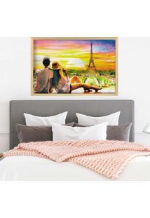 Quadro Love Decor Com Moldura Amour Parisien Madeira Clara - Grande