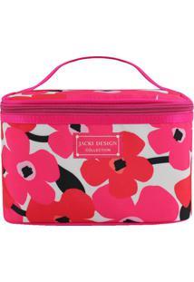 Nécessaire Floral- Pink & Branca- 15X23X15Cm- Jajacki Design