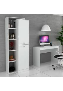 Escrivaninha E Estante Para Escritório-Ho-2954-Hecol - Branco