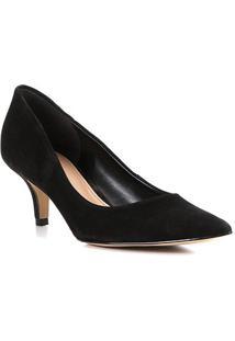 Scarpin Shoestock Salto Médio Classic Nobuck - Feminino-Preto