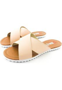 Rasteira Quality Shoes Feminina 008 Courino Bege Rosado 34 34