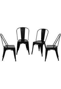 Jogo De Cadeiras De Jantar Retrã´- Preto- 4Pã§S- Oor Design