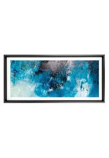 Quadro Com Moldura Chanfrada Abstrato Azul Com Cinza 50X115
