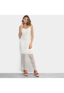 Vestido Longo Lança Perfume Evasê Regata Tricô - Feminino-Off White