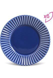 Jogo De Pratos Para Sobremesa Plissã©- Azul Escuro- 6Porto Brasil