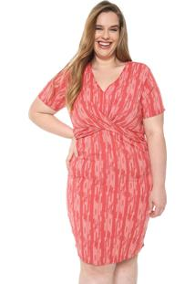 Vestido Cativa Plus Curto Transpasse Vermelho - Vermelho - Feminino - Viscose - Dafiti