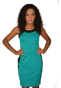 Vestido Curto Urban Lady Com Recorte Verde