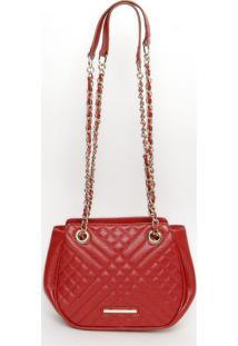 Bolsa Em Couro Matelassãª- Vermelha- 18X22X7Cmjorge Bischoff