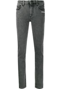 Off-White Calça Jeans Skinny Com Lavagem - Cinza