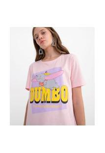 Blusa Manga Curta Estampa Dumbo Voando | Disney | Rosa | M
