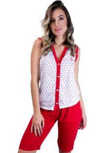 Pijama Pescador Aberto Botões Adulto Curto Feminino - Feminino-Vermelho